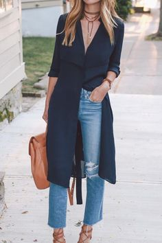 Silk trench and boyfriend jeans