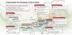 Ausführliche Tibet Karte mit Angaben von tibetischen Städte, Bezirke und Sehenswürdigkeiten sowie Reiserouten.