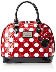 loungefly Disney Minnie Polka Dot Embossed Top Handle Bag,Red,One Size Fashion Handbags, Purses And Handbags, Fashion Bags, Leather Handbags, Leather Totes, Leather Bags, Disney Handbags, Disney Purse, Kids Luggage