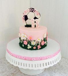 Soccer cake for a girl birthday Pinterest Soccer cake Cake