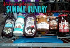 Our Backwards Dinner tradition.#ad #sponsored @Smucker's  Sundae, ice cream, ice cream bar, toppings, toppings, anyday, dessert, treats, snacks, chocolate, hot fudge, pecans, marshmallow, fruit topping, magic shell.