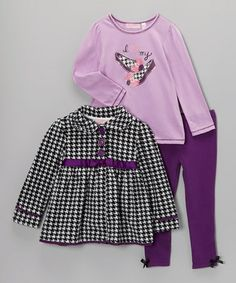 Take a look at this Black & White Houndstooth Coat Set - Girls by Kids Headquarters on #zulily today!