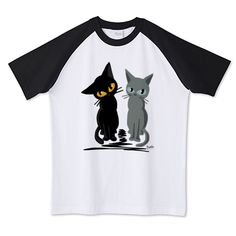 SOLD! 黒猫とロシアンブルー ラグランTシャツ (Printstar) by BATKEI #cat #猫 #cats #feline #tshirts #clothing #Tシャツ #ttrinity