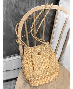Paille de raphia Vintage pigé couleur naturelle longues poignées sac à main