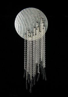 """Brooch ~ Flora Book ~ Waterfall Series in sterling silver and glass beads. Hangs Approx. 5"""" tall."""