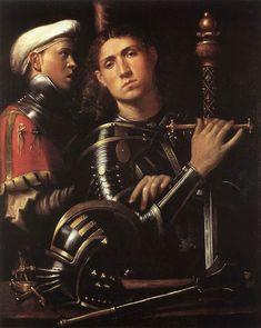Paolo Morano Cavazzola - A Warrior and his Squire. Oil on panel, Uffizi…