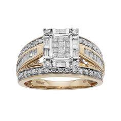 10k Gold 1 Carat T.W. Diamond Square Halo Engagement Ring, Women's, Size: