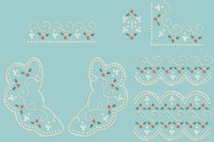 Heirloom Broderie Anglaise Lace Decorative Pieces Set 1