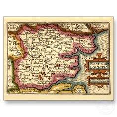 Historic Essex County Map, England Post Card by ZephyrusBooks