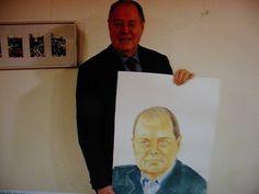 """""""Steinmeier mit seinem Portrait von Emo S C H U S C H N I G"""