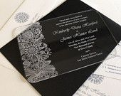 Engraved Acrylic Wedding Invitations - Fleur