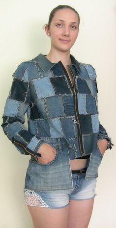 Handmade  Womens Denim Jacket Denim Patchwork in by LUSunshine