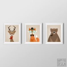 Set of 3 Hipster Fox Deer Bear 8x10 Printable by HappyFoxDesign