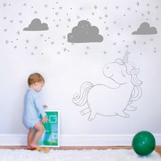 Amazing Kinderzimmerdekoration Exklusive Wandtattoo Kinderzimmer Einhorn ein Designerst ck von taia s bei DaWanda
