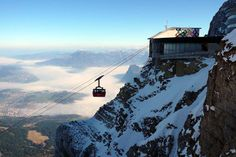 Mt. Pilatus, Switzerland- highest peaks of the Alps.  The building includes a revolving restaurant.
