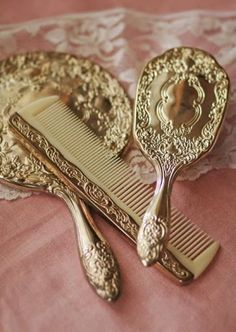 "Image result for 1950s era toy dresser set: brush, comb, mirror, set with imitation ""jewels"" glued in by the child"