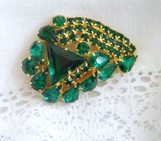Vintage Brooch with Emerald Green by VintageAndVictorian on Etsy, $52.00