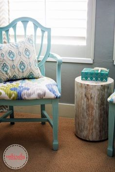 Love this chair makeover! Such pretty colors. #chair #diy