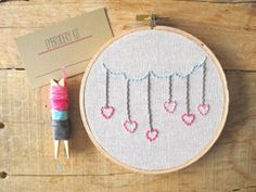 Valentines Day DIY Embroidery Kit. Clouds with Hearts