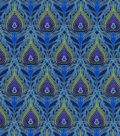 Keepsake Calico Fabric-Peacock Floral Packed, , hi-res Peacock Fabric, Calico Fabric, Paper Cones, Colour Pallette, Joann Fabrics, Online Craft Store, Paper Design, Pattern Art, Fabric Crafts