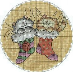 Christmas cross-stitch schemes ~~ CATS IN STOCKINGS  PAGE 2 OF 3  (cats in stockings repeated because of floss chart grouping)