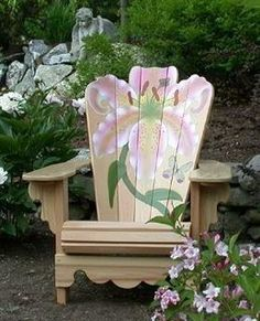 This kind of paint job on any wood chair - if you're an artist.