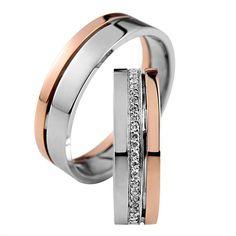 Fehér és rozé arany karikagyűrű R025