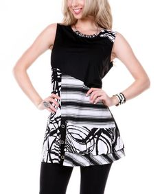 Look what I found on #zulily! Black & White Abstract Stripe Sleeveless Tunic by Lily #zulilyfinds