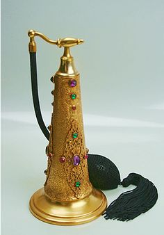 Jeweled Perfume Atomizer from 1920's, 30's.  7 inches tall. Signed on the bottom APOLLO