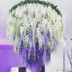 Chandelier of delphiniums by #allforlovelondon                                                                                                                                                                                 More