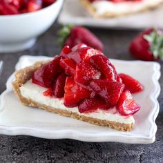 """A butterygraham cracker crust filled with sweetened cream cheese and topped with a mountainof juicy fresh strawberries. This gorgeous no-bake pie is the perfect spring or summer dessert. Recipe <a href=""""http://celebratingsweets.com/no-bake-fresh-strawberry-cream-cheese-pie/""""><strong>HERE.</strong></a>"""