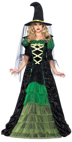 Storybook Witch Costume is a Victorian-style black dress with voluminous green ruffles and sleeves. Women's Storybook Witch Costume includes a witch's hat draped with a black veil. Halloween Kostüm, Halloween Skirt, Halloween College, Halloween Office, Halloween Couples, Halloween Recipe, Halloween Parties, Halloween Fashion, Halloween Desserts
