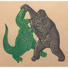 King Kong vs T-Rex #linocut #printmaking #kingkong #trex #skullisland #attacktheplanet