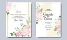 Elegant Wedding Invitation Card With Beautiful Floral And Leaves Template Wedding Invitation Card Template, Pink Wedding Invitations, Beautiful Wedding Invitations, Elegant Wedding Invitations, Wedding Invitation Templates, Wedding Frames, Wedding Cards, Vintage Wedding Stationery, Watercolor Leaves