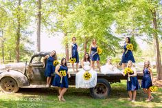 beautiful bridal party, wedding party, gorgeous venue, vintage wedding, old truck, outdoor photography, group photos, rockmart wedding photographer, pretty ladies :: Kalley + Arlin's Wedding at Spring Lake Events in Rockmart, GA :: with Greta