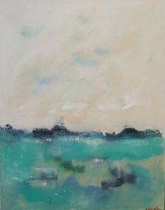 Light Blue Green Coastal Painting  Morning Lake 22 by lindadonohue