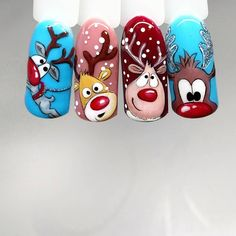 Herten nagels vakantie nagels Kerst nagels winter You are in the right place about nail colors d Cute Christmas Nails, Xmas Nails, Christmas Nail Designs, Christmas Nail Art, Holiday Nails, Christmas Deer, Cute Nails, Pretty Nails, Deer Nails