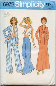 1970s Simplicity 6972 - Vintage Sewing Pattern - Misses Cardigan, Midriff Top, Skirt, Wide Leg Pants - Bust 36 UNCUT. $8.00, via Etsy.