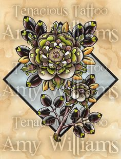 Brown Heart Petal Rose Tattoo Print by amybird on Etsy, £10.00