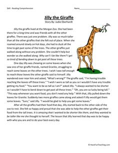 This Reading Comprehension Worksheet - Jilly the Giraffe is for teaching reading comprehension. Use this reading comprehension story to teach reading comprehension.