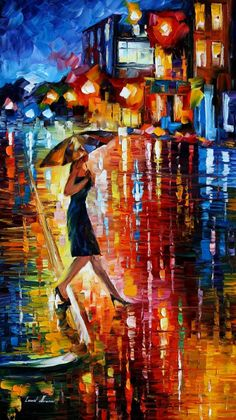 leonid afremov | LATE RETURN -+- LEONID AFREMOV by *Leonidafremov on deviant ART - there it is again, the wondrous umbrella http://johnpirilloauthor.blogspot.com/