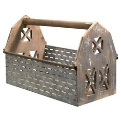 Olive Bucket Barn Wooden Basket is a new take on a storage basket. Basket has a wood bottom and galvanized metal sides with a punched hole pattern that Wooden Basket, Metal Baskets, Storage Baskets, Country Decor, Rustic Decor, Farmhouse Decor, Farmhouse Ideas, Country Wood Crafts, Primitive Decor