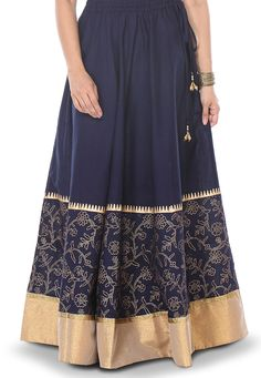 Buy Blue Faux Georgette Readymade Long Skirt online, work: Plain ...