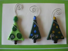 Set of 3 Fused Glass Holiday Trees