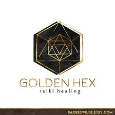 Geometric Logo Design, Sacred Geometry, Hexagon Logo, Black and Gold, Black Watercolor, Reiki Logo, Bohemian Logo, Triangle Logo