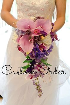 Cascade Bouquet, Paradise Wedding, Real Touch Flowers, www.blueorchidcreations.etsy.com