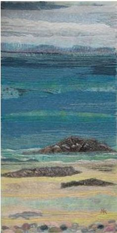 Naomi Renouf – textile art www. Ocean Quilt, Beach Quilt, Water Artists, Landscape Art Quilts, Felt Pictures, Beach Scenes, Tapestry Weaving, Textile Artists, Felt Art