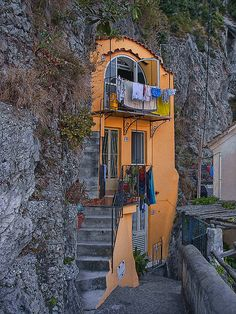 """The Orange Italian House in the Rock,"" Amalfi Coast, Italy"