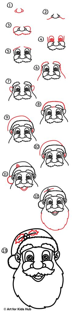 Follow our short simple steps to learn how to draw Santa Claus's face! Our steps are paced just right for kids to follow as they watch.