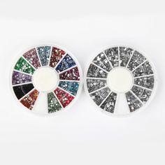 Nail Rhinestones By Cheeky- Bundle of Nail Art Rhinestones Wheels: 1000 Premium Silver Nail Art Gems in Different Shapes + 2400 Premium Nailart Rhinestones in 12 Different Colors. #beauty, #make up, #nails